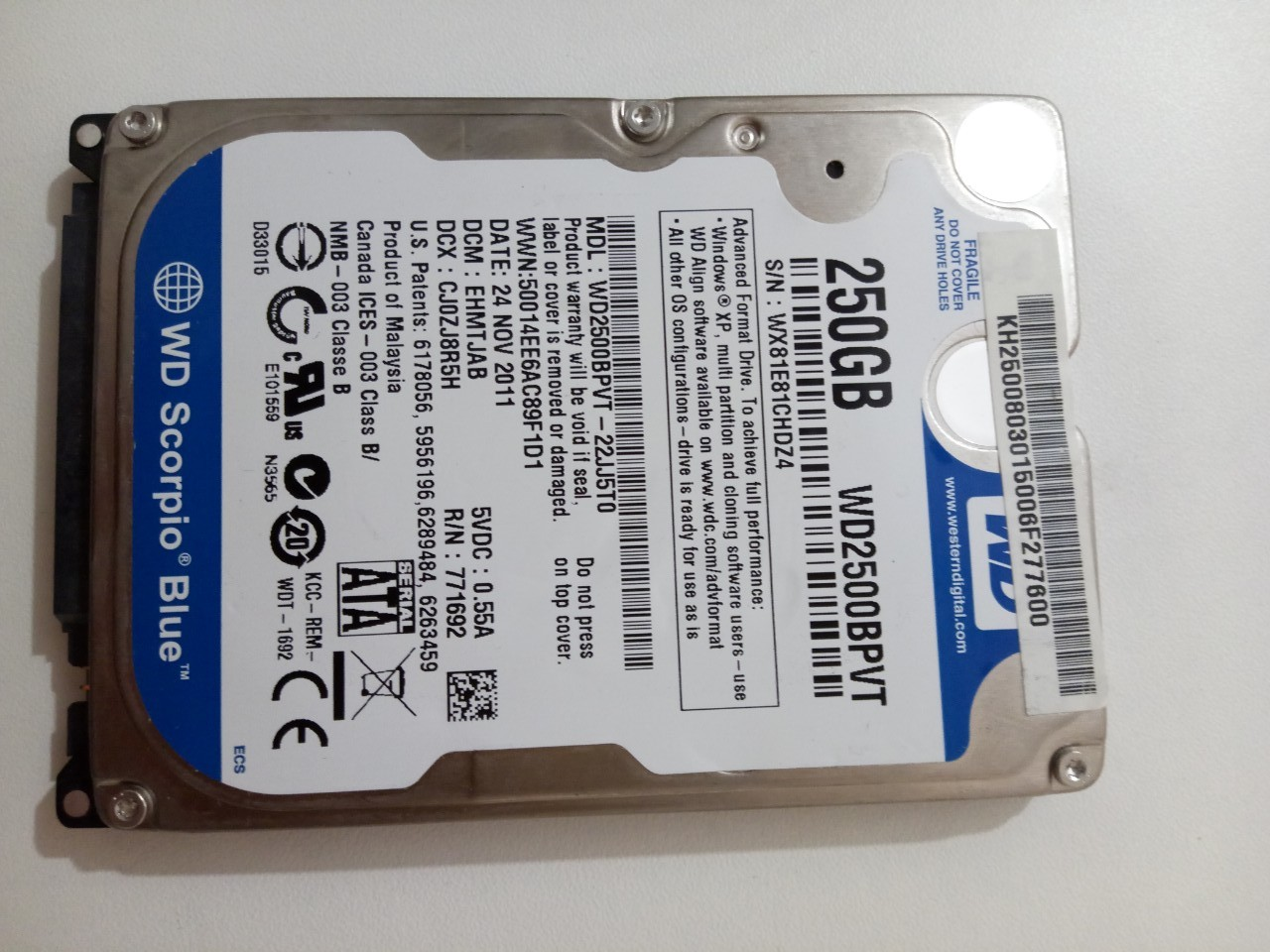Жесткий диск Western Digital WD Scorpio Blue 250 GB (WD2500BPVT)
