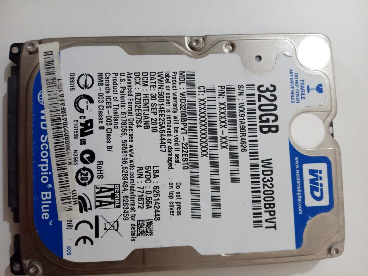 Жесткий диск Western Digital WD Scorpio Blue 320 GB (WD3200BPVT)